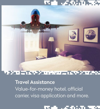 Travel Assistance: Value-for-money hotel, official carrier, visa application and more.